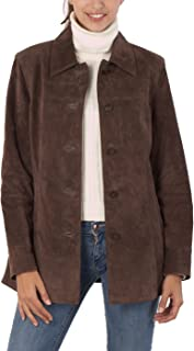 BGSD Women's Anna Suede Leather Car Coat (Regular and Plus Size and Short)