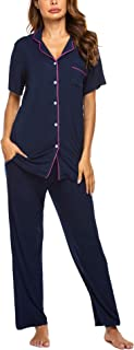 Pajamas Set Short Sleeve Soft Sleepwear Pjs Women Button Down Nightwear with Long Pants S-XXL
