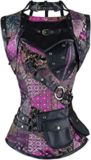 Leather Gothic Clothing Sexy Women Vintage Retro Steel Boned High Neck Steampunk Corset