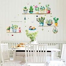 dekodino/® Sticker mural v/ég/étal cactus avec verres color/és p/épini/ère
