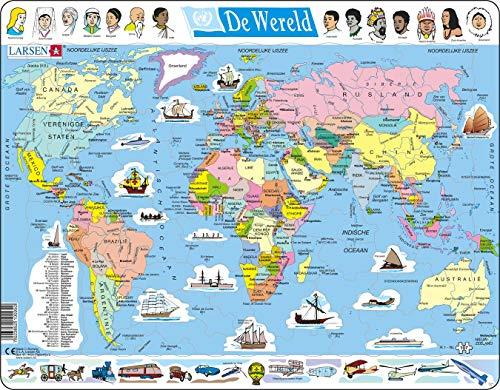 Larsen K1 El Mapa político Mundial, edición en Holandés, Puzzle de Marco con 107 Piezas