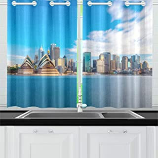 QXXIA Blackout Curtains for Kitchen Eyelet Thermal Insulated Room Downtown Sydney Skyline Blue Sky Australia Curtains for Living Room, 2 Window Curtain Panels