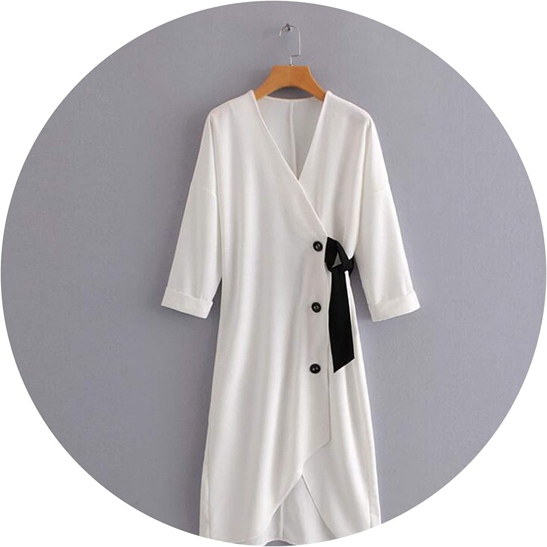 2018 Autumn Women Vintage White Asymmetrical Dress Three Quarter Sleeve VNeck Midi Dress Lady Sexy Party