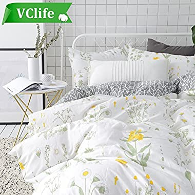 VClife King Cotton Bedding Sets Adults Floral Bed Duvet Cover Sets 3 pcs Home Textile Reversible Botanical Flower Comforter Cover Sets by Teens Quilts Cover Sets, Soft, Breathable (Style 6, King)
