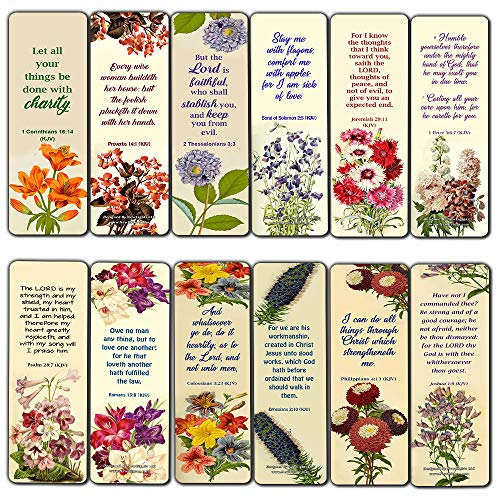 Floral Bookmarks for Women King James KJV Scriptures Cards Series 3 (30 Pack) - Proverbs Psalm Colossians Bible Verse to Inspire Motivate - Great Gifts for Women Moms Daughters Christmas Thanksgiving