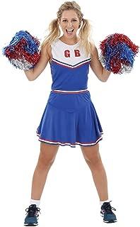 Womens High School Cheerleader Fancy Dress Costume Pom Poms Uniform Costume