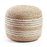 Kave Home - Puf Saht Natural y Blanco Redondo Ø 45 cm de Yute Natural y algodón