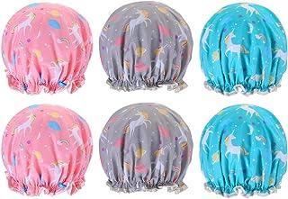 Falllea - Juego de 6 gorros de ducha con diseño de unicornio, impermeables, doble capa, para niñas y mujeres