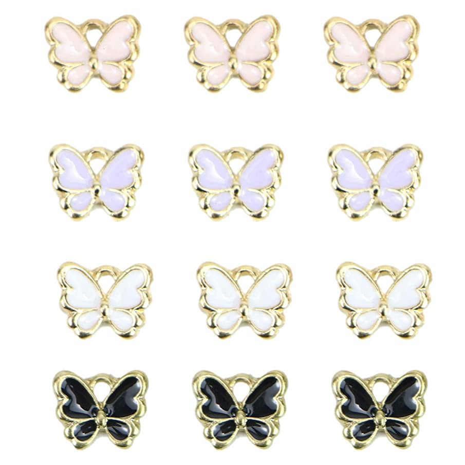 Monrocco 40 Pcs Enamel Butterfly Charms Bracelet Pendant Charms for Jewelry Making