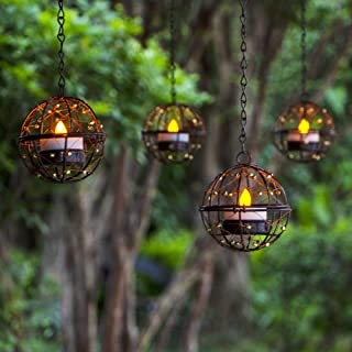 Solar Lights Outdoor Hanging Lanterns, ZHONGXIN Beaded Copper Wire Ball Candle Holder with Solar Tea Lights, Perfect for H...
