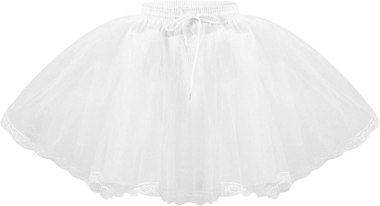 Sholeno Girls Hooped Hoopless 2 Layers Petticoat Underskirt Wedding Formal Dress Elastic Waistband Slip Crinoline