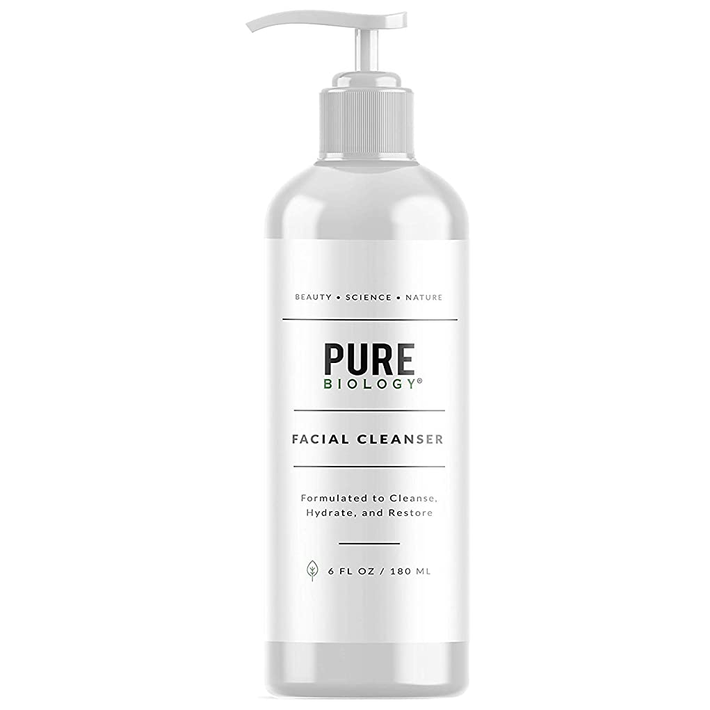 病気終了する蓋[Pure Biology] [Premium Facial Cleanser with Hyaluronic Acid, Natural Essential Oils & Anti Aging Complex – Face Wash Firms, Tightens Wrinkles, Lightens Dark Circles, Dark Spots] (並行輸入品)