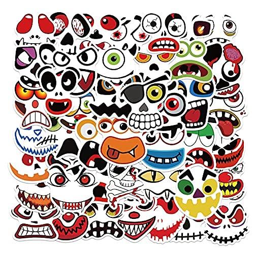 MENGYUE 50PCS Calabaza de Halloween Emoji Cara de Fantasma Pegatinas Impermeables para portátil Equipaje Taza de Agua Monopatín Guitarra Coche Bicicleta Pegatinas para niños niñas niños
