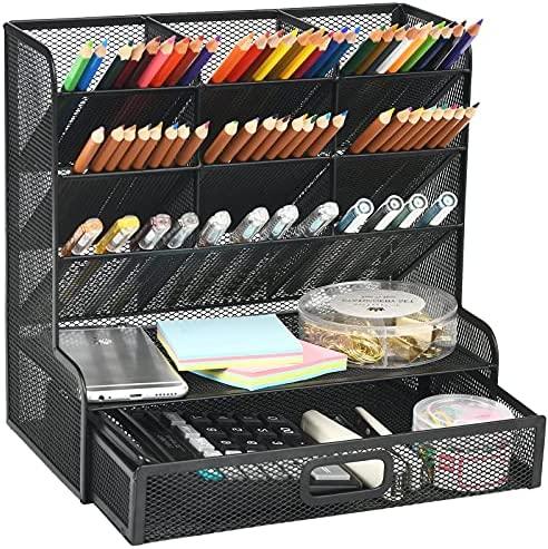Marbrasse Mesh Desk Organizer, Multi-Functional Pen Holder, Pen Organizer for desk, Desktop Stationary Organizer, Storage Rack for School Home Office Art Supplies (Balck Mesh Pen Holder with Drawer)