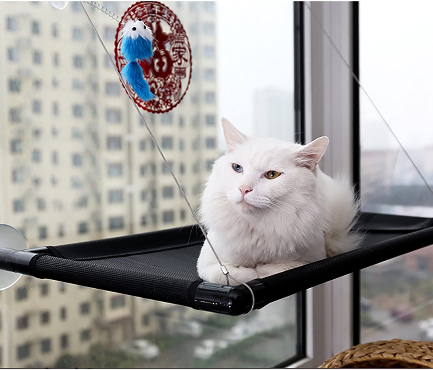 Cat Window Perches, URVOGUE Window Mount Resting Hammock with Blanket Kitty Sunny Seat Cradle Mat Pet Bedding & Mounted Lounge Animal Window Seat Nest