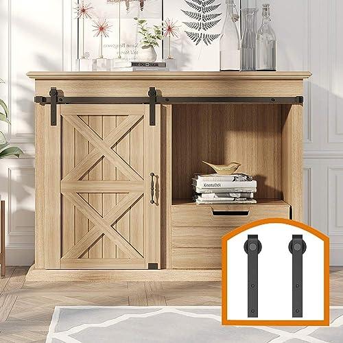 ZEKOO 2.5-8 FT Super Mini Sliding Barn Door Hardware Kit J Shape Hanger Flat Track for Cabinet TV Stand Console (4FT,...