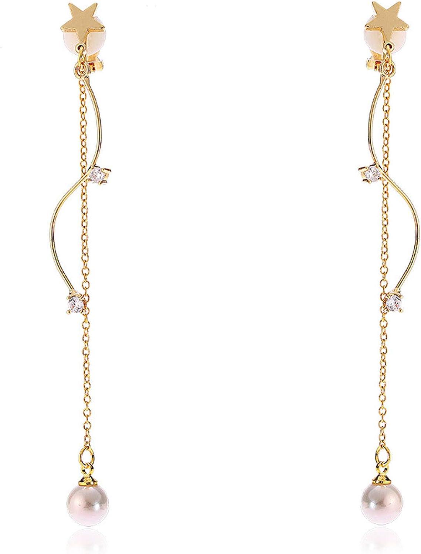 Faux Pearl Clip on Earrings Long Dangle Tassel Star Wave non Pierced Cubic Zirconia Women Girls Bohemian
