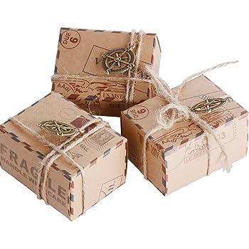 50pcs Cajas de Papel Kraft de Caramelo Dulces Bautizo Bombones Regalos Recuerdos Detalles para Invitados de Boda Fiesta Comunion Graduación Decoración Favor Boda: Amazon.es: Hogar