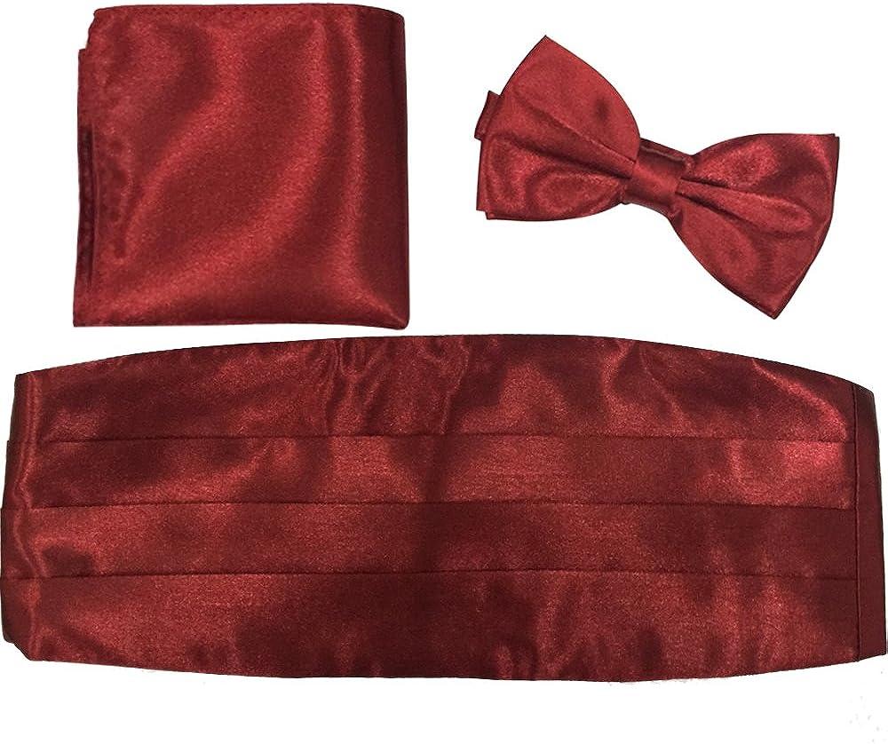 Mens Dress Girdle Tie Tuxedo Suit Waist Pure Pleat Cummberbund Bowtie Hankerchief Set