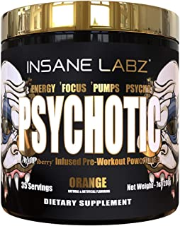 Insane Labz Psychotic Gold, High Stimulant Pre Workout Powder, Extreme Lasting Energy, Focus, Pumps and Endurance with Bet...