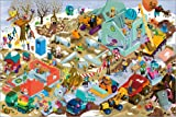 Poster 60 x 40 cm: Baustellen Wimmelbild Winter von Stephan