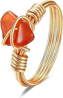 Wishangol Carnelian Crystal Ring, Wire Wrap Real Carnelian Crystal Ring, Healing Crystal Gold Rings for Women Statement St...