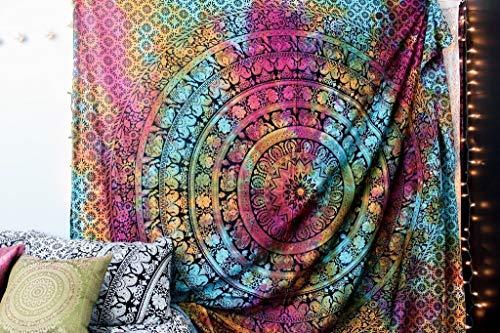 MY DREAM CARTS tie dye elefante reina mandala tapiz india hippie colgar de la pared para colgar bohemia wall, playa colcha colcha el tiro del arte en tamaño queen (84x90inches) (213x229cms)
