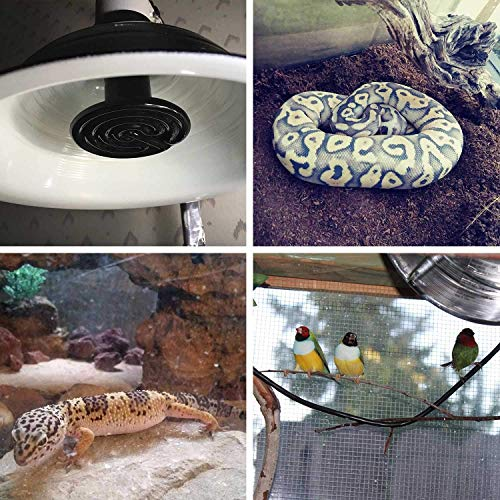 Wuhostam 2 Pack 100W Infrared Ceramic Heat Lamp,Black Reptile Emitter Bulb for Pet Coop Heater Chicken Lizard Turtle Brooder Aquarium Snake, No Harm No Light, ETL Listed