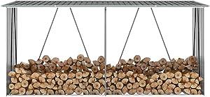 vidaXL Garden Log Storage Shed Heavy Duty Outdoor Backyard Timber Storage Cabin Firewood House Galvanized Steel 130