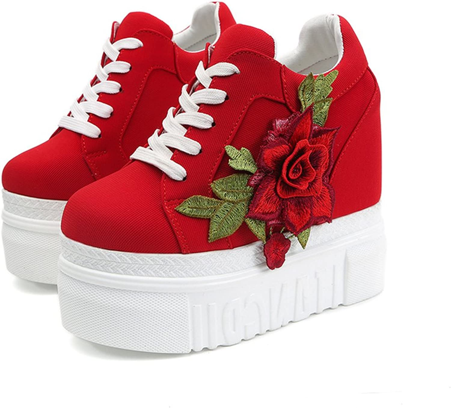 ACE SHOCK Platform Canvas shoes Women, Hidden High with Wedges Sneakers Flower