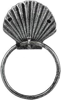 Antique Silver Cast Iron Seashell Towel Holder 8.5 Inch - Seashell Decoration - Sea Home Decor