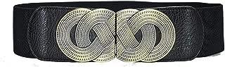 New ladies girdle retro pattern buckle elastic buckle decorative wide belt (Color : Black, Size : 115cm)