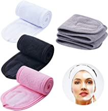 4 PCS Facial Spa Headbands(White, Black, Pink,Gray), Makeup Shower Bath Wrap Sport Headband Terry Cloth Stretch Towel with...