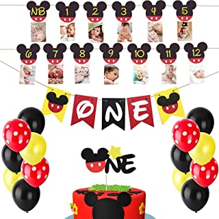 Mickey Mouse First Birthday Set Mickey 1St Birthday Cake Topper Balloons Party Decorations High Chair Banner Mickey Mouse Baby Boy Photo Booth Props