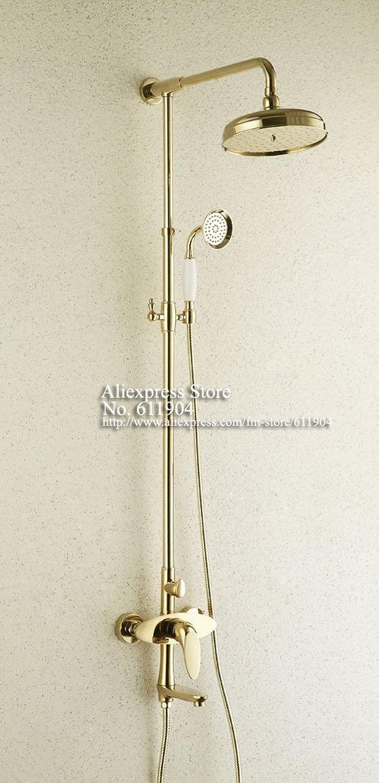 Luxus Messing Goldene Farbe Badezimmer Dusche Wasserhahn Badewanne Mischbatterie mit Regenkopf Handbrause Set 1711007, gelb