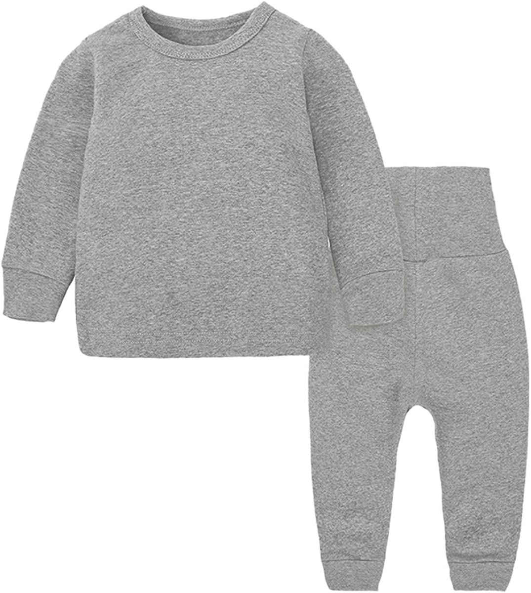 Toddler Boy's Thermal Underwear Set Base Layer Top & Bottom Set, Gray, 6-9 Months = Tag 73