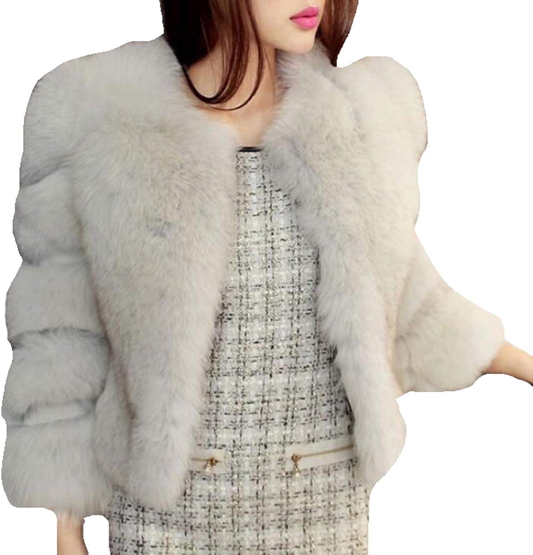 Emastor Womens Faux Fur Coat Winter Warm VNeck Fluffy Wrap Jacket Outwear