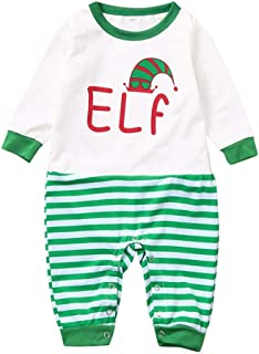 Janjunsi Family Christmas Pajamas - Letter Printed Long Sleeve Tops and Green Striped Pants Sleepwear