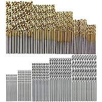 KONGZIR 100個/セットチタンコーティングされたツイストドリルビットハイスホールオープナー木工金属プラスチックツール電動ドリル (Color : Gold)