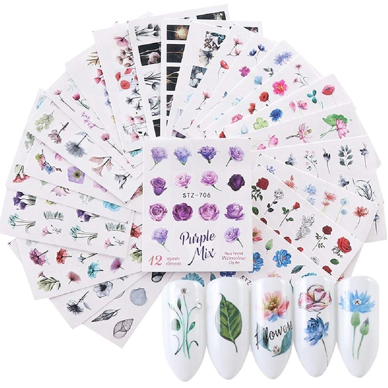 侵入する平和靴下24pcs Watercolor Floral Flower Sticker Nail Decals Set Flamingo Sea Horse Designs Gel Manicure Decor Water Slider 水彩フラワーフラワーステッカーネイルステッカーセットフラミンゴシーホースデザインジェルマニキュア装飾水スライダー