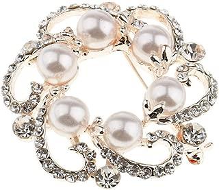 Pearl Austrian Crystal Vintage Inspired Wedding Bridal Flower Brooch Corsage   Color - Gold