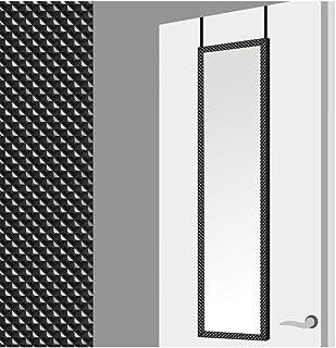 Espejo para Puerta Moderno, Negro con diseño Geométrico, para Dormitorio, sin Agujeros (34,7cm X 1,5cm X 125cm) - Hogar y Más