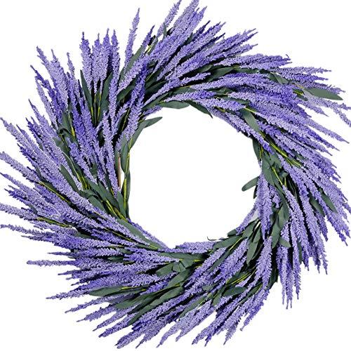 idyllic Lavender Wreath Wedding Decoration Purple 26' Artificial Floral Spring Wreath Green Leaves Home Wall Decor