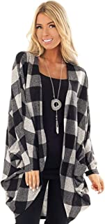 Dethler Women Fashion Plaid Cotton Loose Front Open Cardigan Coat Cardigans