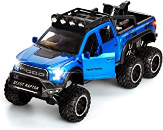 F-150 Pickup Truck Toy Refitted 6x6 Off-Road Model Truck 1/24 Scale Die-Cast Metal Toy Car (Blue)