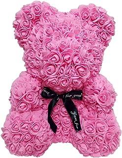 LIOOBO 1pc Belle Rose Rose Ours Artificielle Rose Fleur Ours pour Toujours Rose Ours pour Mariage Anniversaire Anniversair...