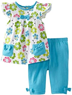 Frogwill Little Girls 2 Pieces Playwear Set with Bow and Applique