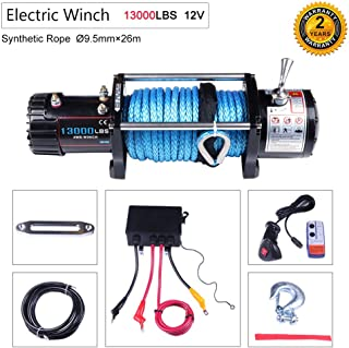 OCPTY Winches Waterproof Offroad 13000 lbs Load 12V Electric Winch with Wireless/Hand Remote Control+Solenoid Box Assembly+Aluminum Fairlead+Negative Wire+Hook+Bolts+Users Manual