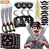 SPECOOL Accessoires de Pirate avec Cache-œil de Pirate Pirate épée Pirate Crochet Boucles d'oreilles Set Fake Moustache Costume de Capitaine Pirate Set pour Enfants