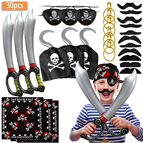 SPECOOL Pirate Accessories con Pirate Eye Patch Pirata Spada Gancio Pirata Orecchini Set Finto Baffi Pirata Capitan Costume Set per Bambini